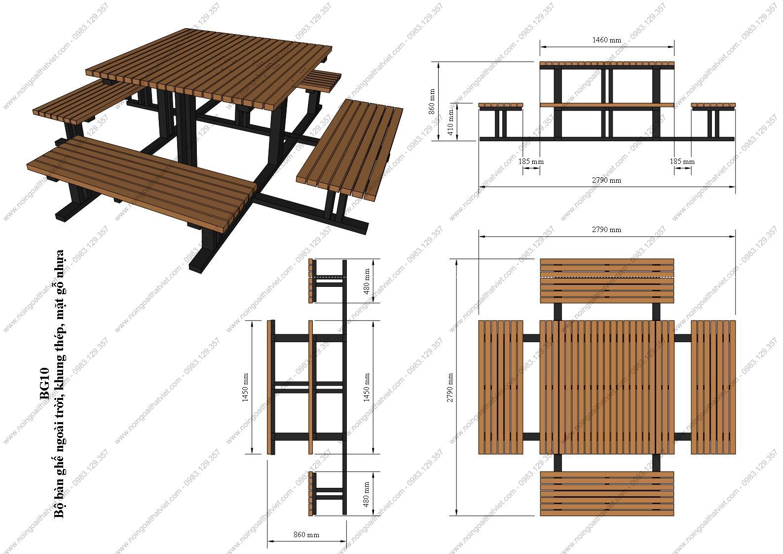 Bàn ghế gỗ ngoài trời, sang trọng, bền, đẹp